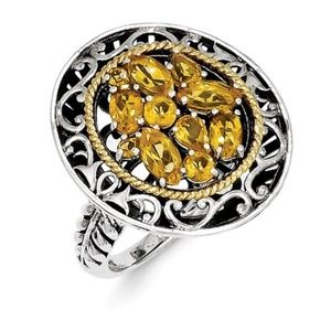 Sterling Silver with 14k Gold Citrine Ring